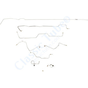 Ford Mustang Brake Line Kit (8pcs) with Rubber Brake Hose Kit (3pcs)  Standard Drum - 6 Cylinder (Built Before Feb. 1967) - Right Front and Front to Rear Route Over Steering Box -1967