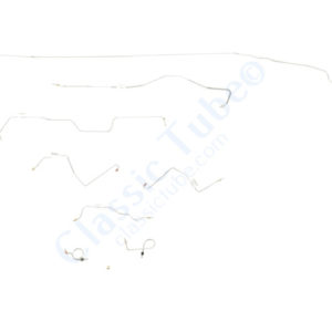 Ford Mustang Brake Line Kit (8pcs) with Rubber Brake Hose Kit (3pcs) Standard Drum - Early (Built Before Feb. 1967) V8 - 8'' Axle and 9'' Axle Right Front and Front to Rear Route Over Steering Box -1967
