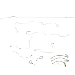 "Ford Mustang Brake Line Kit (8pcs)  With Stainless Braided Brake Hose Kit (3pcs)  Power Disc - 6 Cylinder and V8 - 8"", Axle (Built After July 1972) -1972,1973"